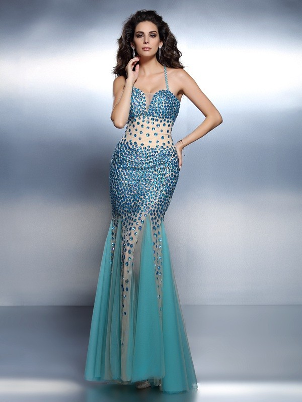 Trumpet/Mermaid Spaghetti Straps Sleeveless Floor-Length Satin Dresses with Rhinestone