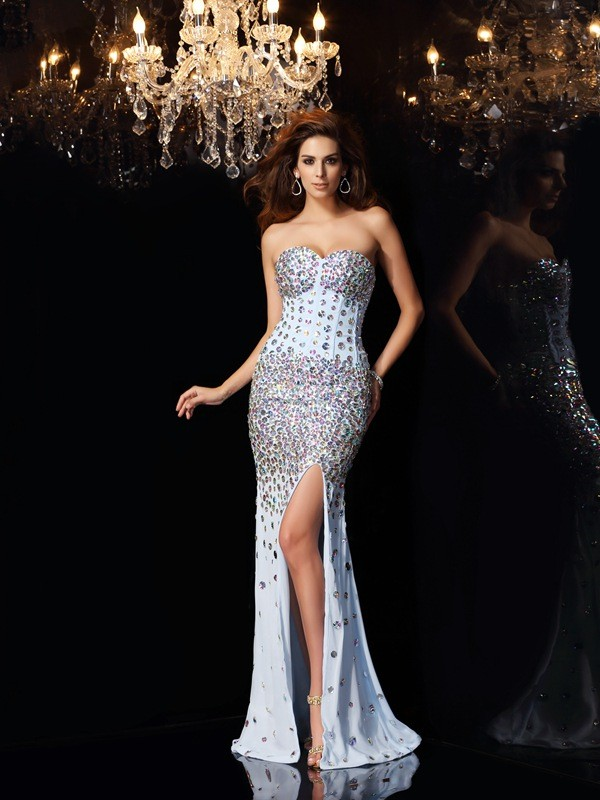 Trumpet/Mermaid Sweetheart Sleeveless Sweep/Brush Train Chiffon Dresses with Rhinestone