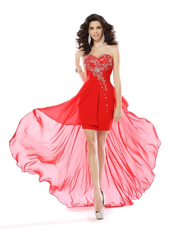 Sheath/Column Sweetheart Sleeveless Short/Mini Chiffon Dresses with Beading