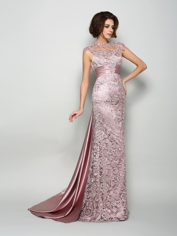 A-Line/Princess High Neck Sleeveless Court Train Elastic Woven Satin Mother of the Bride Dresses