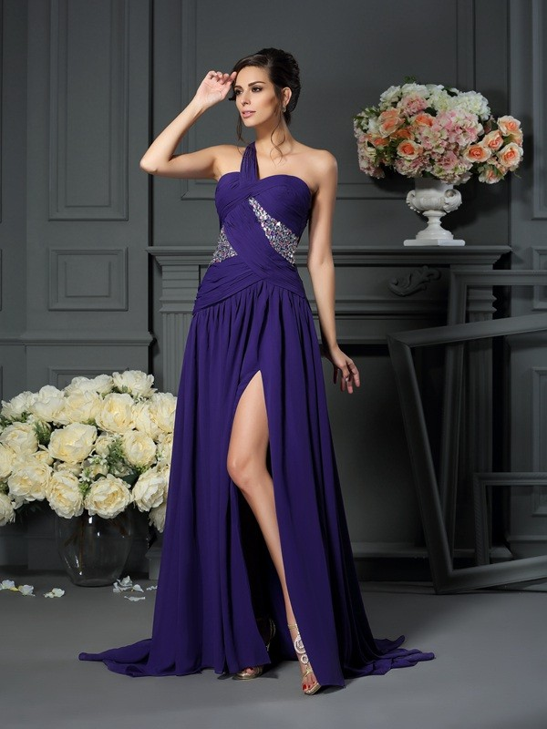 A-Line/Princess One-Shoulder Sleeveless Sweep/Brush Train Chiffon Dresses with Beading