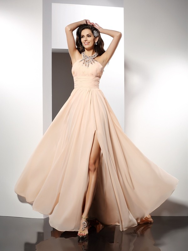 A-Line/Princess Jewel Sleeveless Sweep/Brush Train Chiffon Dresses with Ruffles