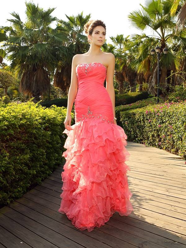 Trumpet/Mermaid Strapless Sleeveless Floor-Length Organza Dresses with Beading