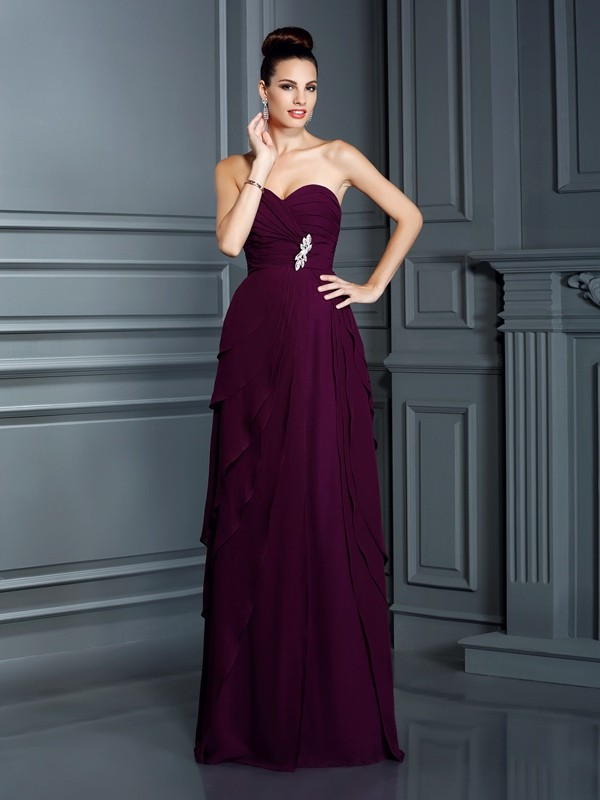 A-Line/Princess Sweetheart Sleeveless Floor-Length Chiffon Dresses with Ruffles