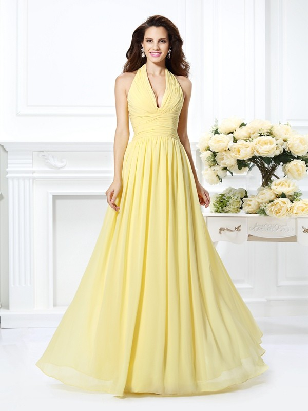 A-Line/Princess Halter Sleeveless Floor-Length Chiffon Dresses with Pleats