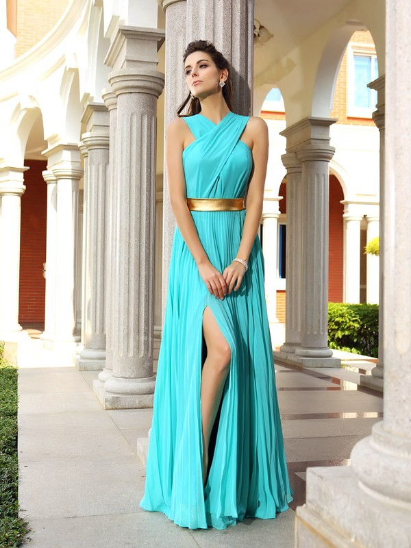 A-Line/Princess Other Sleeveless Floor-Length Chiffon Dresses with Pleats