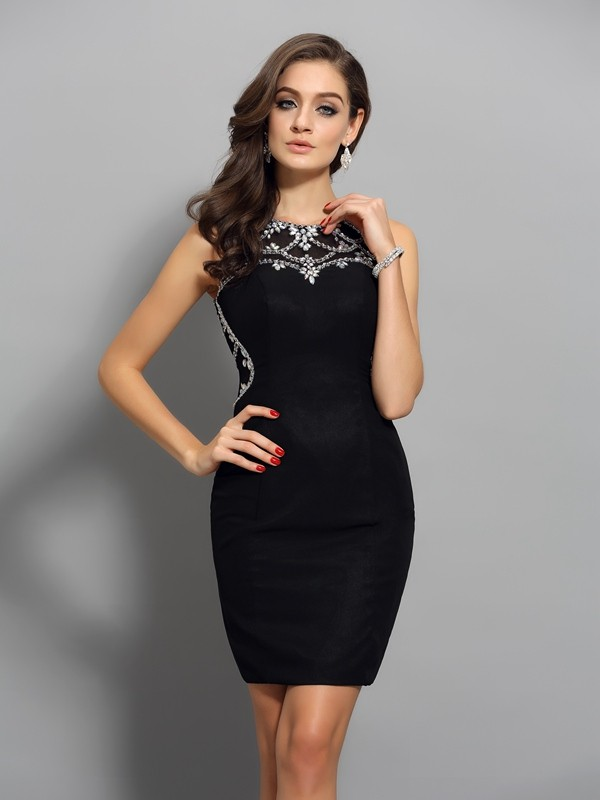 Sheath/Column Scoop Sleeveless Short/Mini Chiffon Dresses with Beading