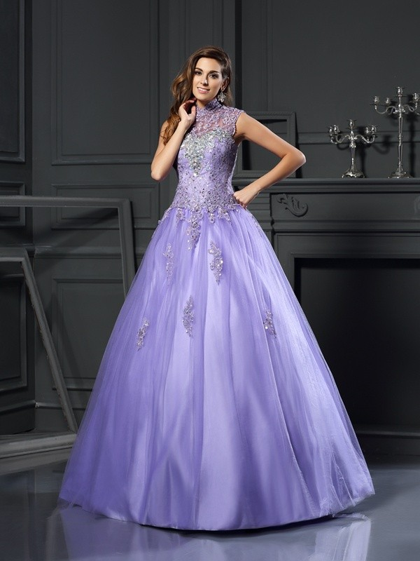 Ball Gown High Neck Sleeveless Floor-Length Net Dresses with Beading Applique