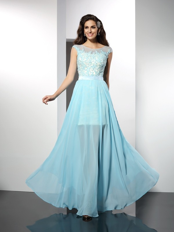 A-Line/Princess Bateau Sleeveless Floor-Length Chiffon Dresses with Applique