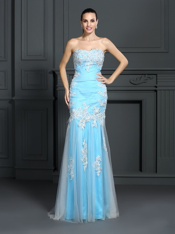 Trumpet/Mermaid Strapless Sleeveless Floor-Length Elastic Woven Satin Dresses with Applique