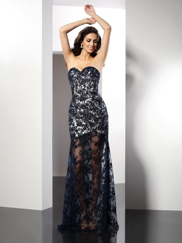 Sheath/Column Sweetheart Sleeveless Floor-Length Satin Dresses with Lace
