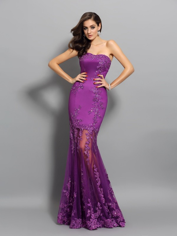 Trumpet/Mermaid Sweetheart Sleeveless Floor-Length Chiffon Dresses with Beading Applique