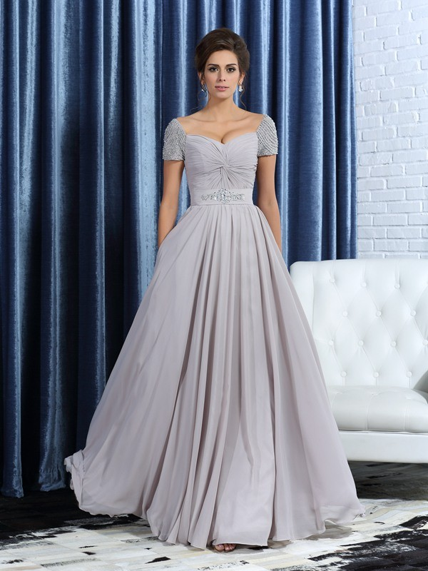 A-Line/Princess Sweetheart Short Sleeves Ankle-Length Chiffon Mother of the Bride Dresses with Beading