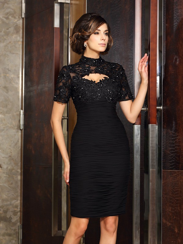 Sheath/Column High Neck Short Sleeves Knee-Length Chiffon Mother of the Bride Dresses with Beading