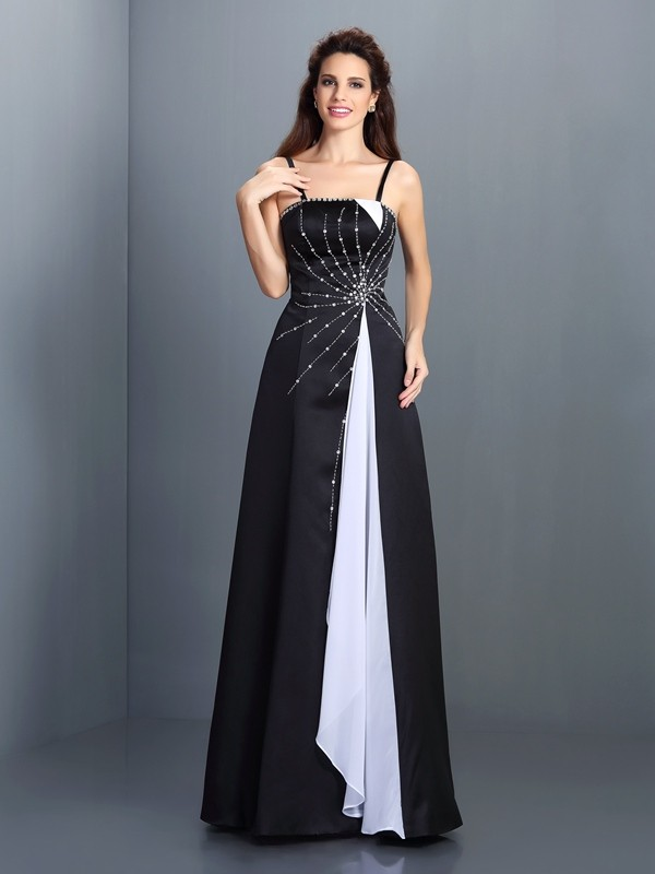 A-Line/Princess Spaghetti Straps Sleeveless Floor-Length Chiffon Dresses