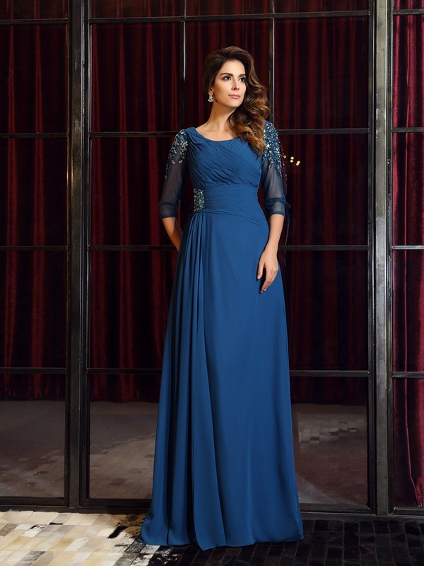A-Line/Princess Square 1/2 Sleeves Floor-Length Chiffon Ruched Dresses