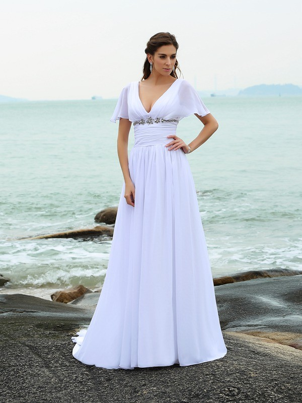 A-Line/Princess V-neck Short Sleeves Sweep/Brush Train Chiffon Wedding Dresses with Ruffles