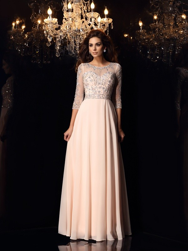 A-Line/Princess Scoop 3/4 Sleeves Floor-Length Chiffon Dresses with Beading
