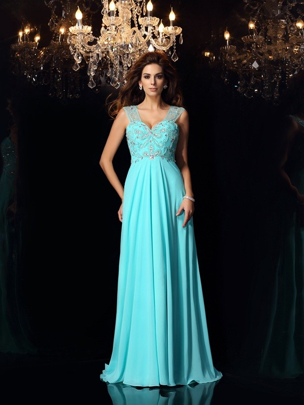 A-Line/Princess Sweetheart Sleeveless Sweep/Brush Train Chiffon Dresses with Beading