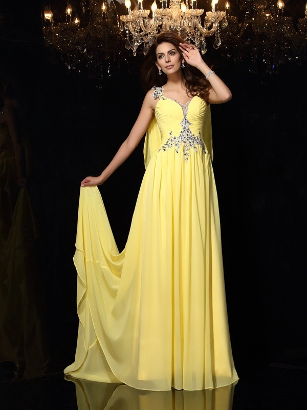 A-Line/Princess Straps Sleeveless Court Train Chiffon Dresses with Beading