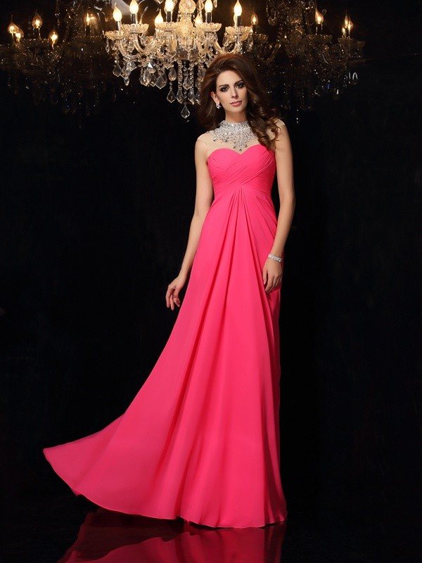 A-Line/Princess High Neck Sleeveless Sweep/Brush Train Chiffon Ruched Dresses