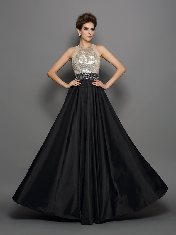 A-Line/Princess High Neck Sleeveless Floor-Length Taffeta Dresses with Sequin