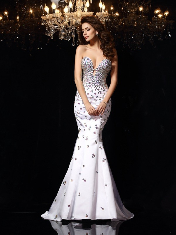 Trumpet/Mermaid Sweetheart Sleeveless Court Train Satin Dresses with Rhinestone