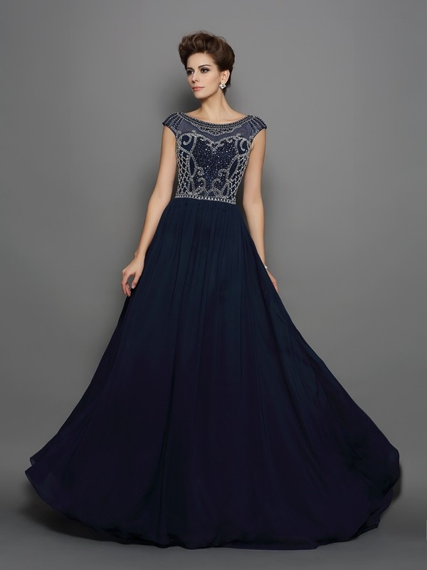 A-Line/Princess Scoop Short Sleeves Sweep/Brush Train Chiffon Dresses with Beading