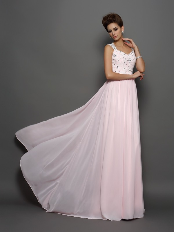 A-Line/Princess Straps Sleeveless Sweep/Brush Train Chiffon Dresses with Beading Applique