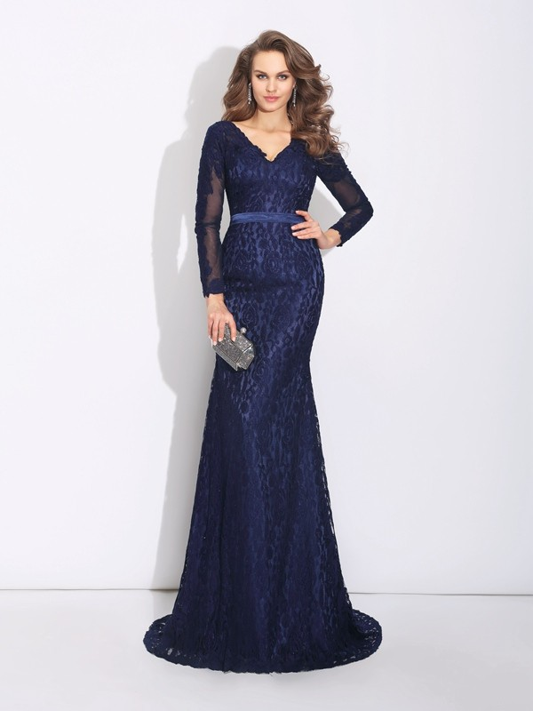 Sheath/Column V-neck Long Sleeves Sweep/Brush Train Lace Dresses