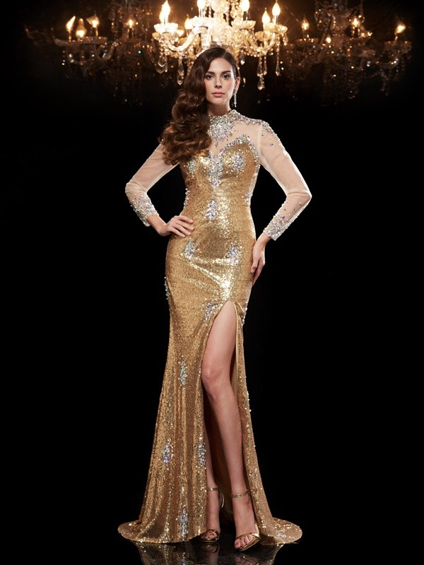 Trumpet/Mermaid High Neck 3/4 Sleeves Sweep/Brush Train Sequins Dresses with Beading