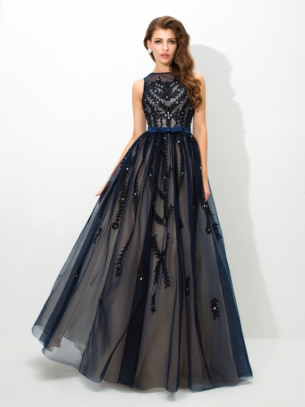 A-Line/Princess Sheer Neck Sleeveless Floor-Length Tulle Dresses with Applique