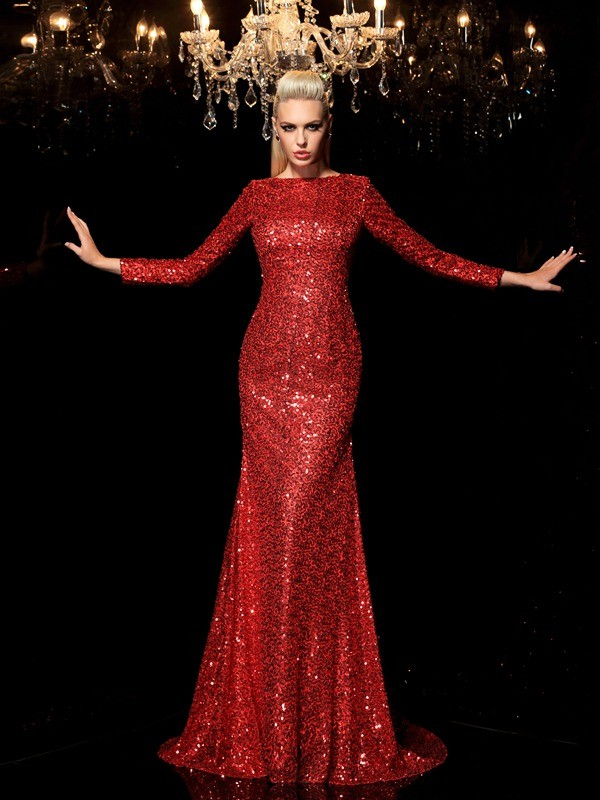 Sheath/Column Scoop Long Sleeves Sweep/Brush Train Sequins Dresses with Sequin
