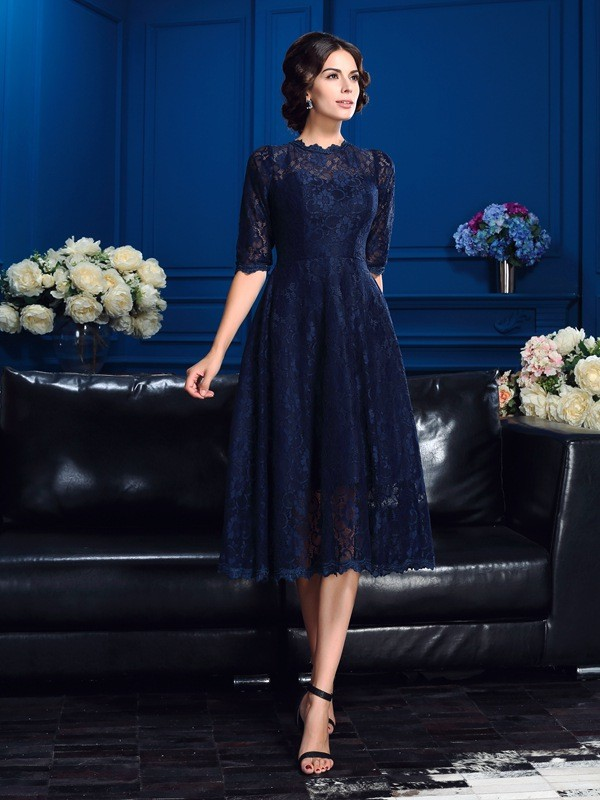A-Line/Princess Jewel 1/2 Sleeves Knee-Length Lace Mother of the Bride Dresses with Lace