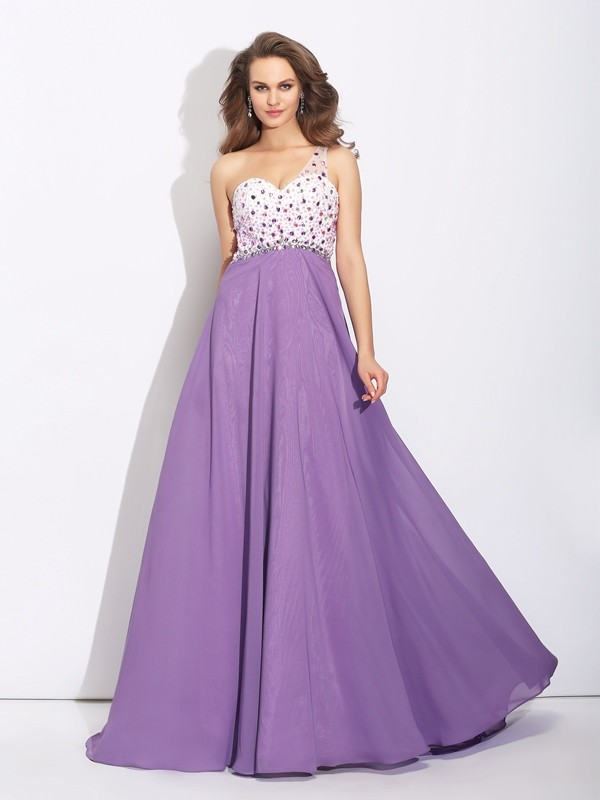 A-Line/Princess One-Shoulder Sleeveless Sweep/Brush Train Chiffon Dresses with Crystal