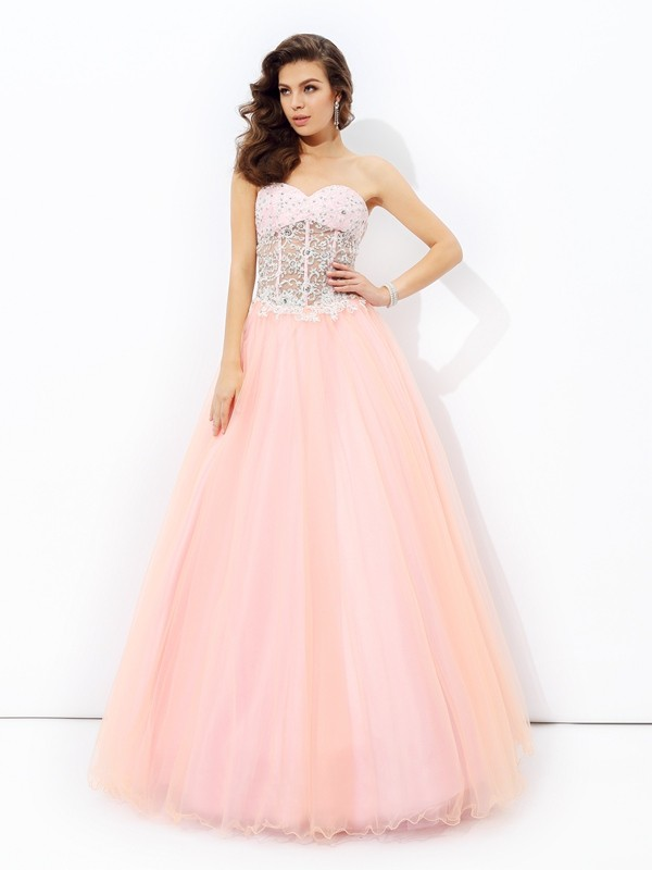 A-Line/Princess Sweetheart Sleeveless Floor-Length Net Dresses with Lace