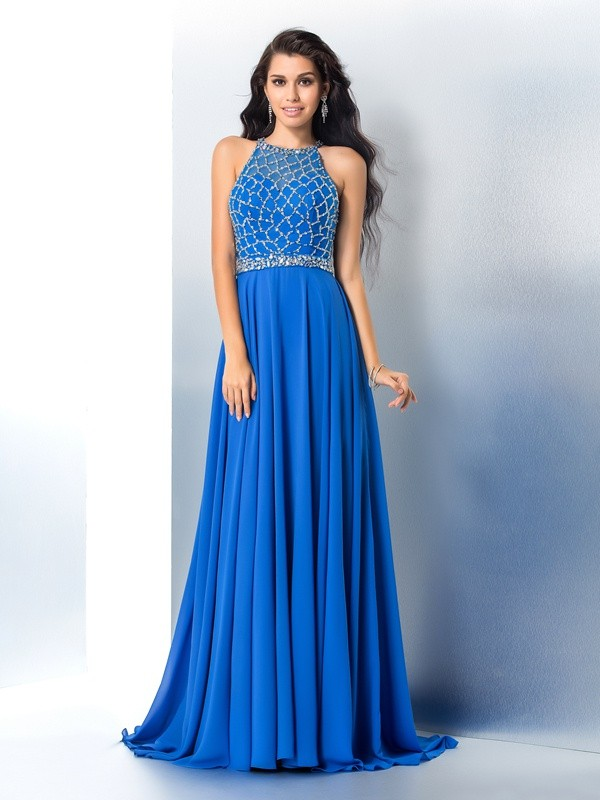 A-Line/Princess Scoop Sleeveless Sweep/Brush Train Chiffon Dresses with Beading