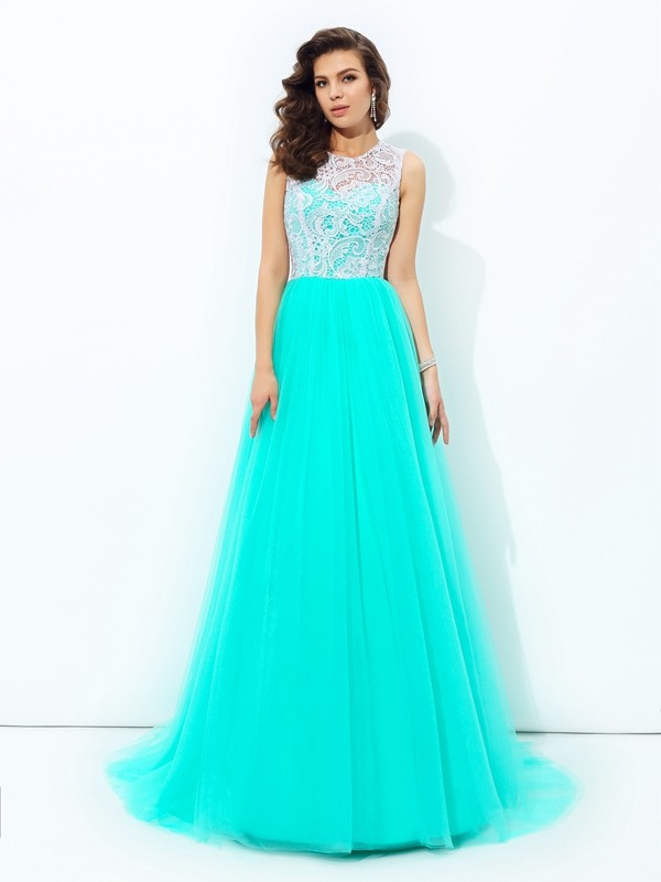 A-Line/Princess Scoop Sleeveless Sweep/Brush Train Net Dresses with Lace