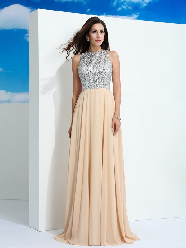 A-Line/Princess Scoop Sleeveless Sweep/Brush Train Chiffon Dresses with Paillette