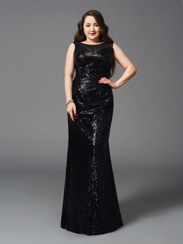 Sheath/Column Scoop Sleeveless Floor-Length Sequins Dresses