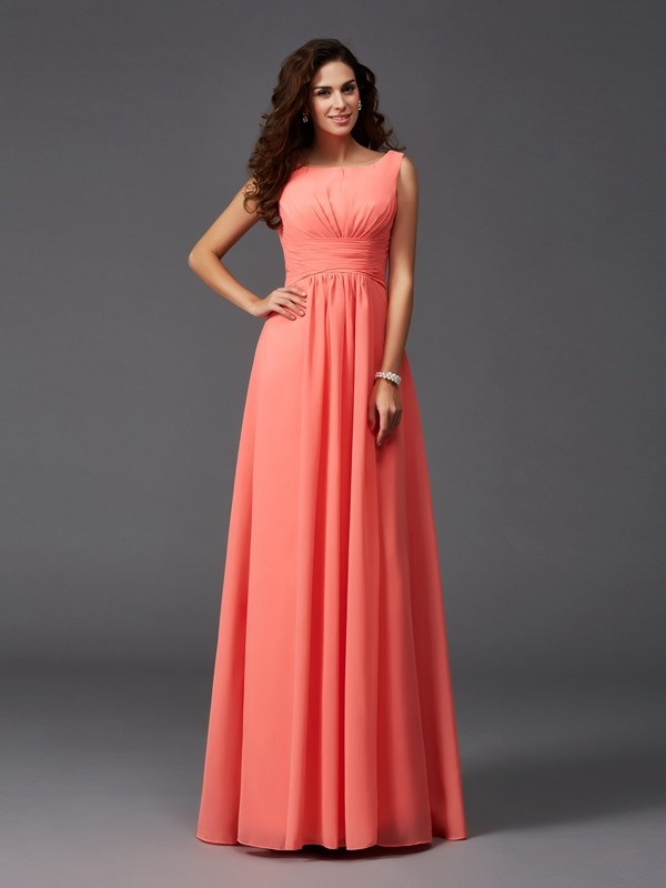 A-Line/Princess Scoop Sleeveless Sweep/Brush Train Chiffon Bridesmaid Dresses with Ruffles