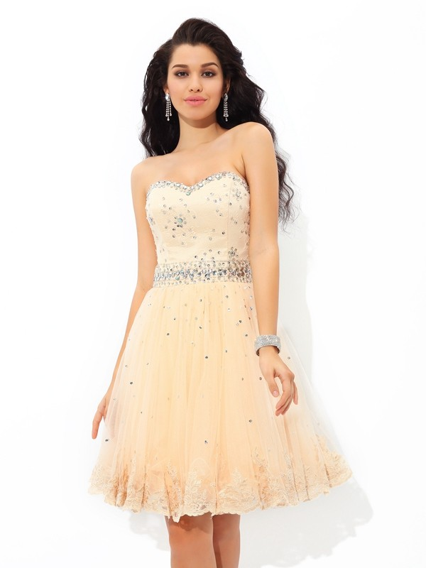 A-Line/Princess Sweetheart Sleeveless Short/Mini Satin Dresses with Beading