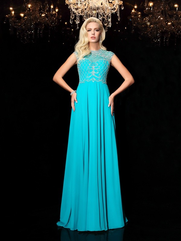 A-Line/Princess Jewel Short Sleeves Floor-Length Chiffon Dresses with Lace