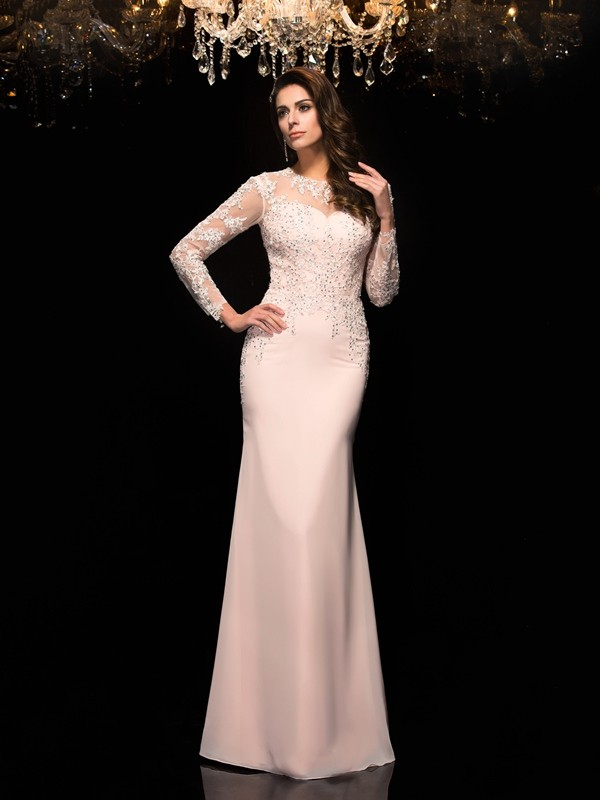 Sheath/Column Sheer Neck 3/4 Sleeves Floor-Length Chiffon Dresses with Applique