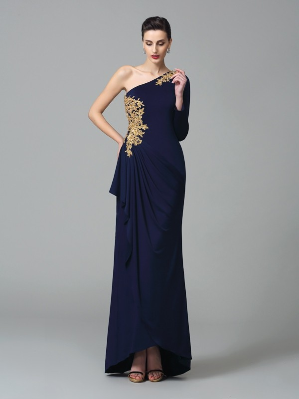 Sheath/Column One-Shoulder Long Sleeves Floor-Length Spandex Dresses with Embroidery