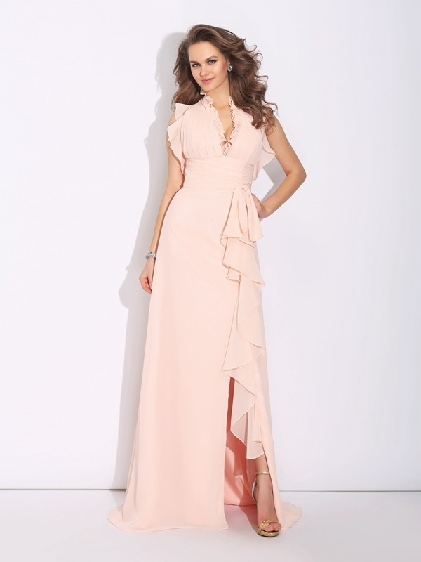 A-Line/Princess High Neck Sleeveless Sweep/Brush Train Chiffon Dresses with Ruffles