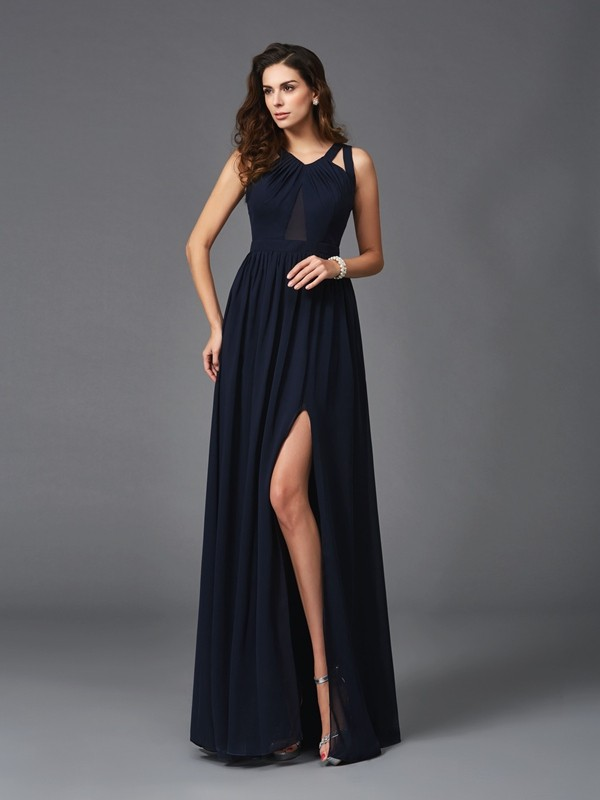 A-Line/Princess Straps Sleeveless Floor-Length Chiffon Dresses