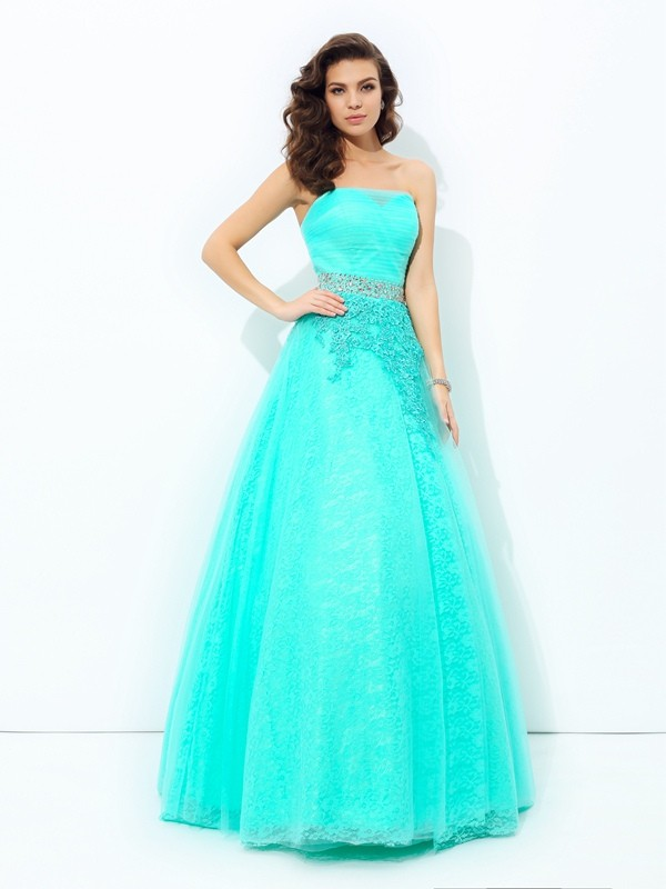 A-Line/Princess Strapless Sleeveless Floor-Length Elastic Woven Satin Dresses with Beading