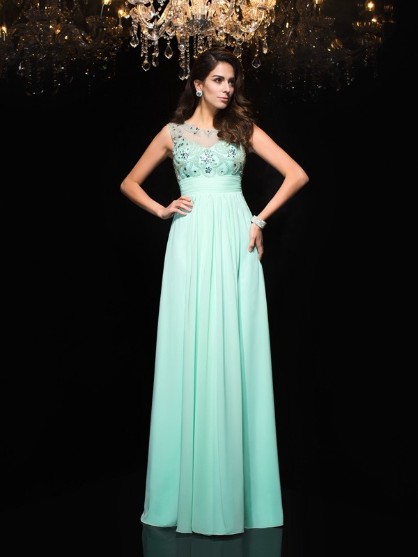 A-Line/Princess Sheer Neck Sleeveless Floor-Length Chiffon Dresses with Beading