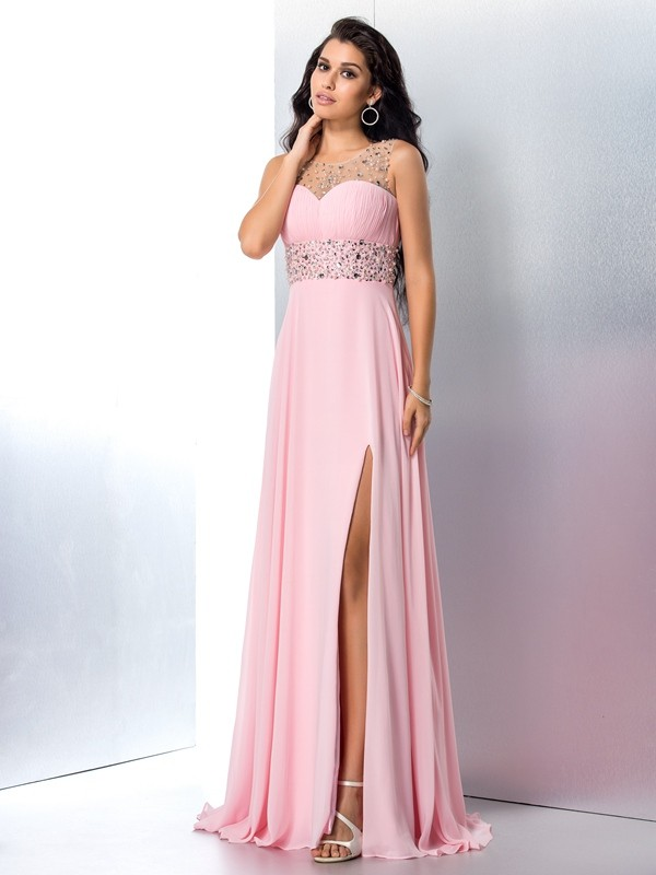 A-Line/Princess Sheer Neck Sleeveless Sweep/Brush Train Chiffon Dresses with Beading